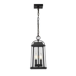 Plafonnier extérieur à 2 lumières Millworks de Z-Lite à montage sur chaîne, 7,75 po x 15,5 po, noir/verre clair