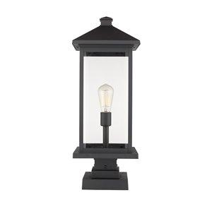 Luminaire d'extérieur montable sur colonne Portland de Z-Lite à 1 ampoule, 9,5 po x 22,5 po, noir/verre clair