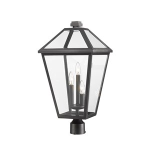 Z-Lite Talbot 3 Light Outdoor Post Mountable Fixture - 12.25-in x 24.25-in - Black/Clear Glass