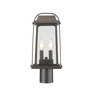 Z-Lite Millworks 2 Light Outdoor Post Mountable Fixture - 7.75-in x 16.75-in - Rubbed Bronze/Clear Glass