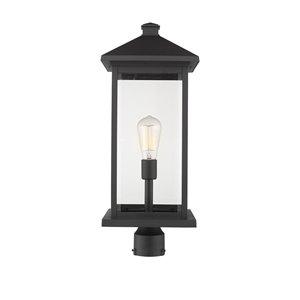 Z-Lite Portland 1 Light Outdoor Post Mounted Fixture - 9.5-in x 24-in - Black/Clear Glass