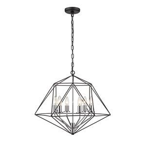 Chandelier Geo de Z-Lite à 6 Ampoules, 22,25 po x 19,25 po, noir mat/chrome