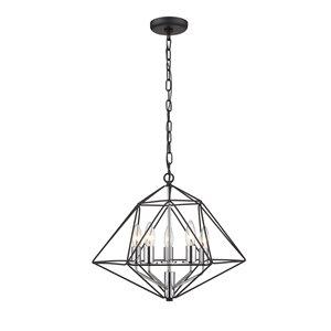Chandelier Geo de Z-Lite à 6 Ampoules, 18 po x 15 po, noir mat/chrome