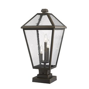 Z-Lite Talbot 3 Light Outdoor Pier Mountable Fixture - 12.25-in x 25.25-in - Rubbed Bronze/Seedy Glass