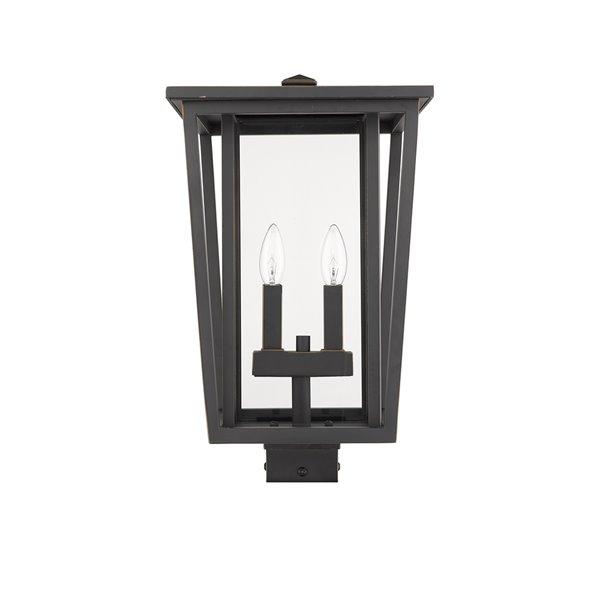 Luminaire d'extérieur montable sur poteau Séoul de Z-Lite à 2 ampoules, 11,25 po x 18,25 po, bronze frotté/verre clair