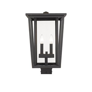 Z-Lite Seoul 2 Light Outdoor Post Mountable Fixture - 11.25-in x 18.25-in - Rubbed Bronze/Clear Glass