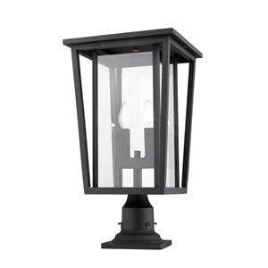 Luminaire d'extérieur montable sur colonne Séoul de Z-Lite à 2 ampoules, 11,25 po x 21,75 po, noir/verre clair
