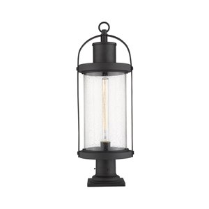 Z-Lite Roundhouse 1 Light Outdoor Pier Mountable Fixture - Square Base - 9.25-in x 27-in - Black/Seedy Glass
