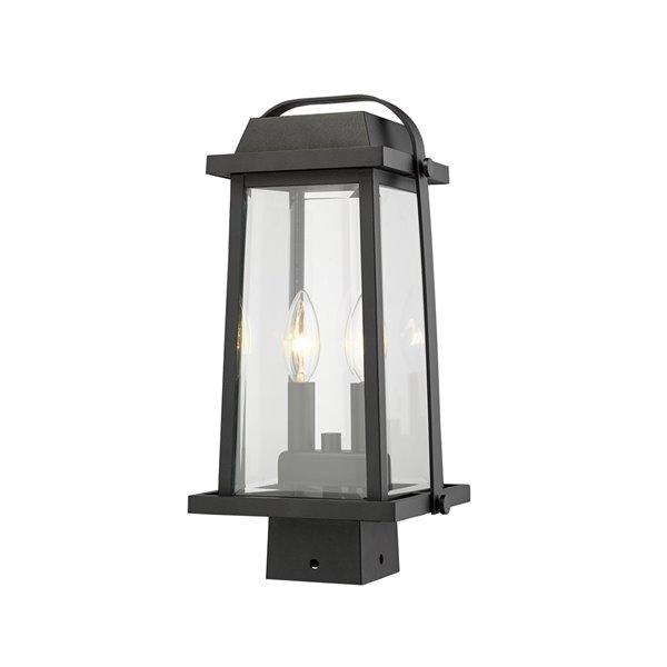 Luminaire d'extérieur montable sur poteau Millworks de Z-Lite à 2 ampoules, 7,75 po x 15,25 po, noir/verre clair