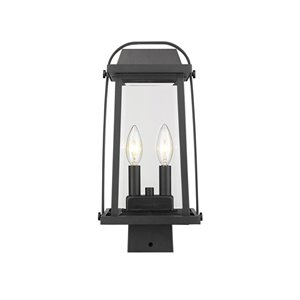 Z-Lite Millworks 2 Light Outdoor Post Mountable Fixture - 7.75-in x 15.25-in - Black/Clear Glass