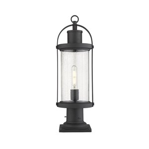 Luminaire d'extérieur montable sur colonne Roundhouse de Z-Lite à 1 ampoule, base carrée, 7,5 po x 22,5 po, noir/verre textur