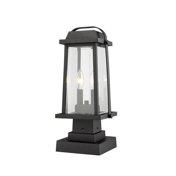 Luminaire d'extérieur montable sur poteau Millworks de Z-Lite à 2 ampoules, 7,75 po x 17,75 po, noir/verre clair