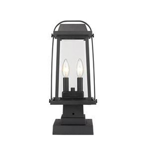 Z-Lite Millworks 2 Light Outdoor Post Mountable Fixture - 7.75-in x 17.75-in - Black/Clear Glass
