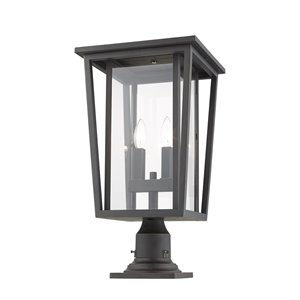 Z-Lite Seoul 2 Light Outdoor Pier Mountable Fixture - 11.25-in x 21.75-in - Rubbed Bronze/Clear Glass