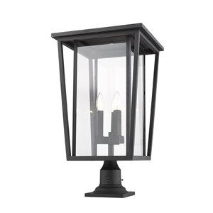 Z-Lite Seoul 3 Light Outdoor Pier Mountable Fixture - 14-in x 25.75-in - Black/Clear Glass