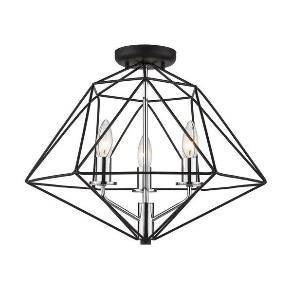 Montage semi-encastré Geo de Z-Lite à 3 ampoules, 18 po x 14,25 po, noir mat/chrome
