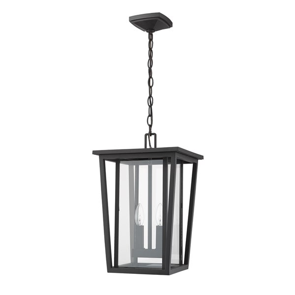 Z-Lite Seoul 2 Light Outdoor Chain Mount Ceiling Fixture - 11.25-in x 17.5-in - Black/Clear Glass