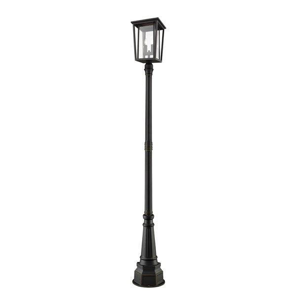 Luminaire à 2 ampoules d'extérieur Séoul de Z-Lite monté sur poteau, 14,25 po x 101,5 po, bronze frotté/verre clair