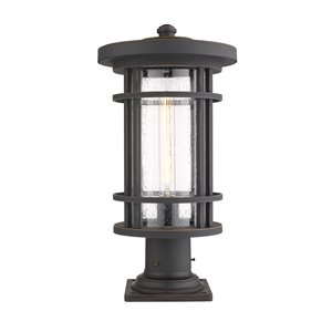 Z-Lite Jordan 1 Light Outdoor Pier Mountable Fixture - Square Base - 10-in x 19.75-in - Rubbed Bronze/Seedy Glass