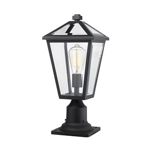 Z-Lite Talbot 1 Light Outdoor Pier Mountable Fixture - 8.25-in x 18.5-in - Black/Clear Glass