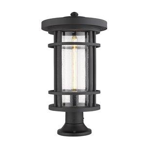 Luminaire d'extérieur montable sur colonne Jordan de Z-Lite à 1 ampoule, base ronde, 12 po x 22,25 po, noir/verre texturé