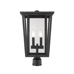 Z-Lite Seoul 2 Light Outdoor Post Mountable Fixture - 11.25-in x 19.75-in - Black/Clear Glass