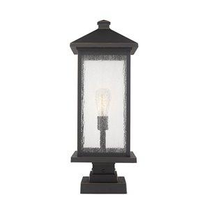 Luminaire d'extérieur montable sur colonne Portland de Z-Lite à 1 ampoule, 9,5 po x 22,5 po, bronze frotté/verre clair