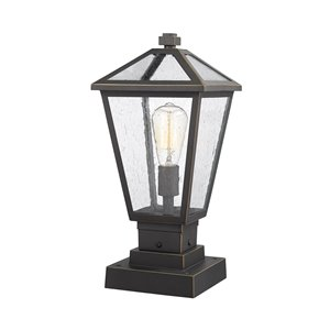 Z-Lite Talbot 1 Light Outdoor Pier Mountable Fixture - 8.25-in x 17.5-in - Rubbed Bronze/Seedy Glass