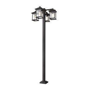Luminaire à 4 ampoules d'extérieur Portland de Z-Lite monté sur poteau, 30,25 po x 99 po, noir/verre clair