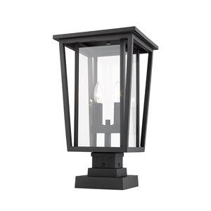 Z-Lite Seoul 2 Light Outdoor Pier Mountable Fixture - 11.25-in x 20.75-in - Black/Clear Glass