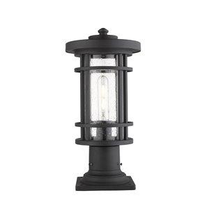 Luminaire d'extérieur montable sur colonne Jordan de Z-Lite à 1 ampoule, base carrée, 8 po x 16,75 po, noir/verre texturé