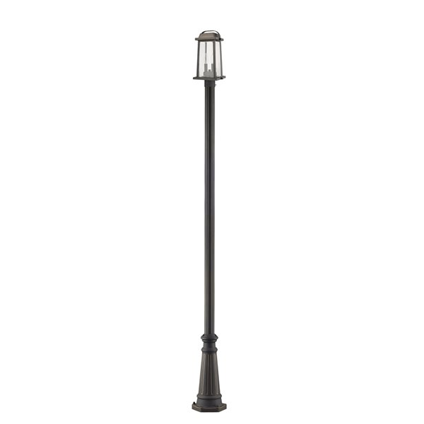 Z-Lite Millworks 2 Light Outdoor Post Mounted Fixture - 10-in x 110.25-in - Rubbed Bronze/Clear Glass
