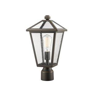 Luminaire d'extérieur montable sur poteau Talbot de Z-Lite à 1 ampoule, 8,25 po x 16,5 po, bronze frotté/verre texturé