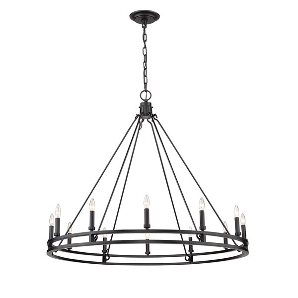 Z-Lite Dennison 12 Light Chandelier - 47.75-in x 40.5-in - Matte Black