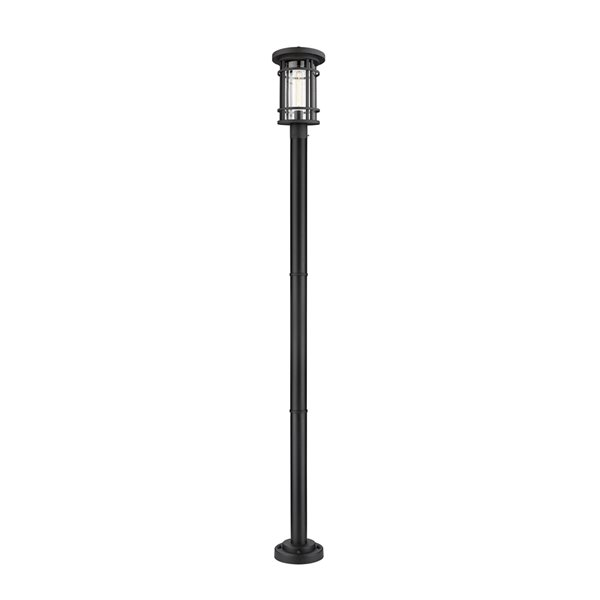Z-Lite Jordan 1 Light Outdoor Post Mounted Fixture - 10-in x 101.25-in - Black/Seedy Glass