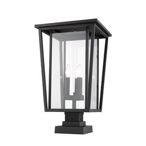 Luminaire d'extérieur montable sur colonne Séoul de Z-Lite à 3 ampoules, 14 po x 24,75 po, noir/verre clair