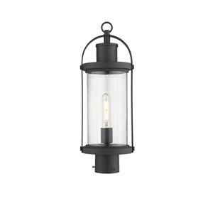 Z-Lite Roundhouse 1 Light Outdoor Post Mountable Fixture - 7.5-in x 20.5-in - Black/Seedy Glass
