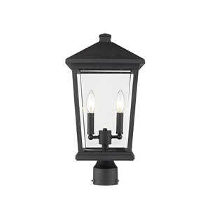 Z-Lite Beacon 2 Light Outdoor Post Mountable Fixture - 9.5-in x 19.5-in - Rubbed Bronze/Clear Glass