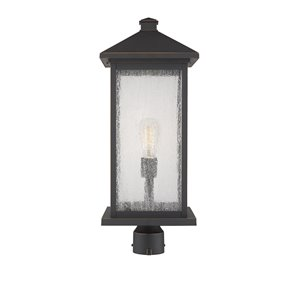 Z-Lite Portland 1 Light Outdoor Post Mounted Fixture - 9.5-in x 24-in - Rubbed Bronze/Clear Glass