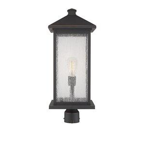 Luminaire d'extérieur montable sur poteau Portland de Z-Lite à 1 ampoule, 9,5 po x 24 po, bronze frotté/verre clair