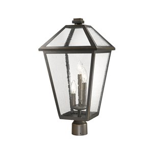 Z-Lite Talbot 3 Light Outdoor Post Mountable Fixture - 12.25-in x 24.25-in - Rubbed Bronze/Seedy Glass