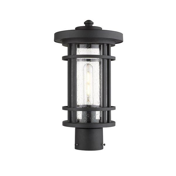 Z-Lite Jordan 1 Light Outdoor Post Mountable Fixture - 8-in x 14.75-in - Black/Seedy Glass