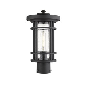 Z-Lite Jordan 1 Light Outdoor Post Mountable Fixture - 8-in x 14.75-in - Black/Seedy Glass