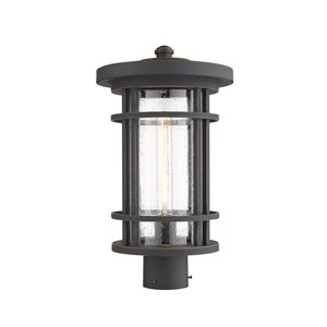 Z-Lite Jordan 1 Light Outdoor Post Mountable Fixture - 10-in x 17.75-in - Rubbed Bronze/Seedy Glass
