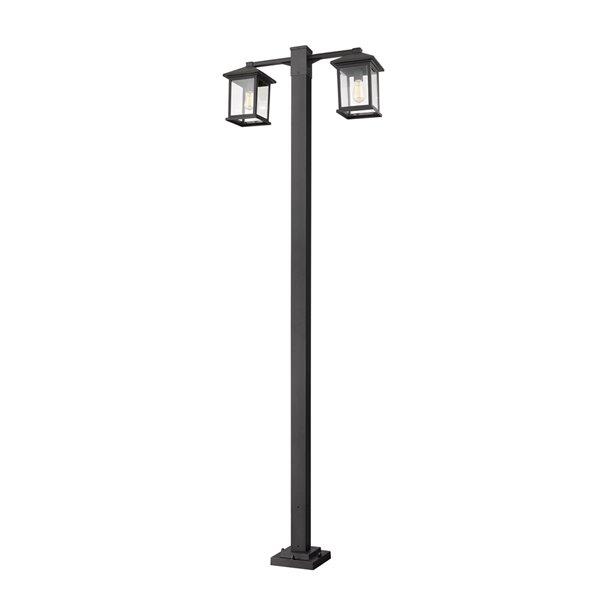 Luminaire à 2 ampoules d'extérieur Portland de Z-Lite monté sur poteau, 8 po x 99 po, noir/verre clair
