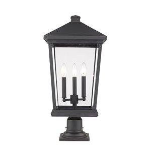 Luminaire d'extérieur montable sur colonne Beacon de Z-Lite à 3 ampoules, 12 po x 25,5 po, bronze frotté/verre clair