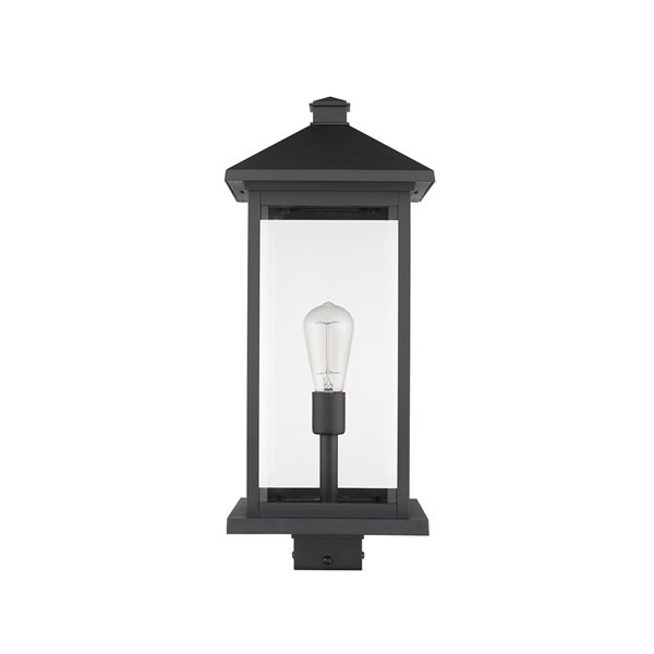 Luminaire d'extérieur montable sur poteau Portland de Z-Lite à 1 ampoule, 9,5 po x 22,5 po, noir/verre clair
