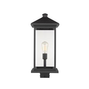 Z-Lite Portland 1 Light Outdoor Post Mounted Fixture - 9.5-in x 22.5-in - Black/Clear Glass
