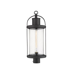 Z-Lite Roundhouse 1 Light Outdoor Post Mountable Fixture - 9.25-in x 25-in - Black/Seedy Glass