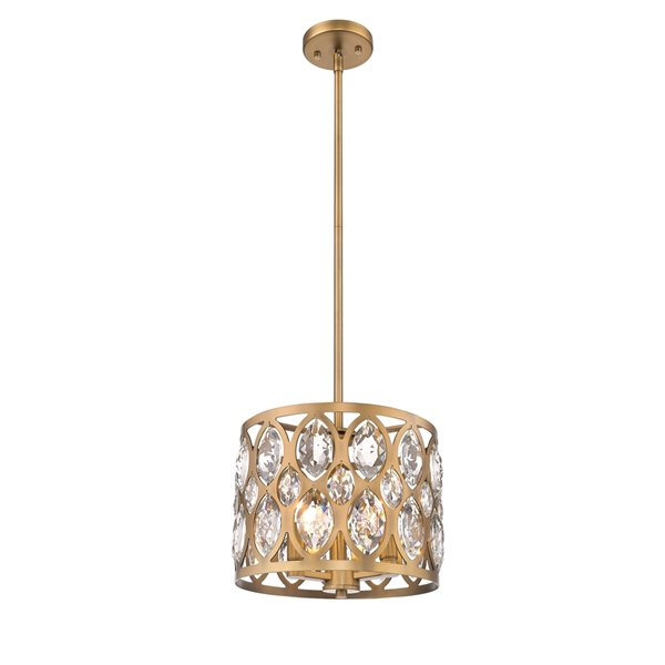 Z-Lite Dealey 3 Light Chandelier - 12-in - Heirloom Brass
